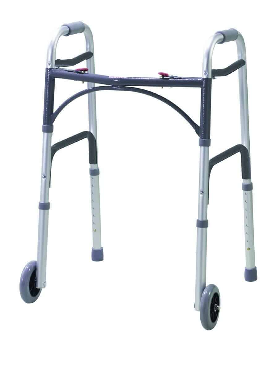 DeVilbiss Healthcare Folding Lightweight Aluminium Walking Frame with Wheels