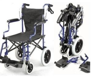 Deluxe Folding Travel Wheelchair with Handbrakes
