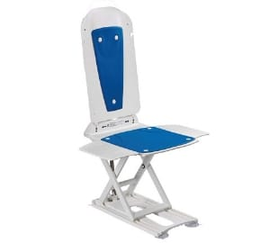 Kanjo Eco Lightweight Reclining Bath lift with Blue Covers for the Elderly, Disabled, Accessibility Aid