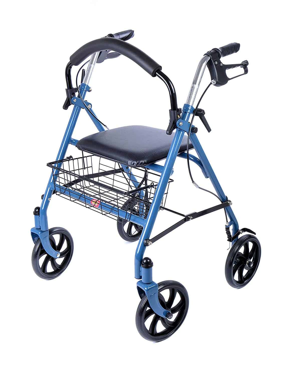 Lightweight 4 Wheel Rollator with Padded Seat and Basket