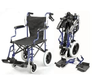 Lightweight deluxe folding transit travel wheelchair