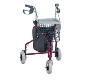 NRS Healthcare 3 Wheeled Tri-Walker Easy to Use, RED