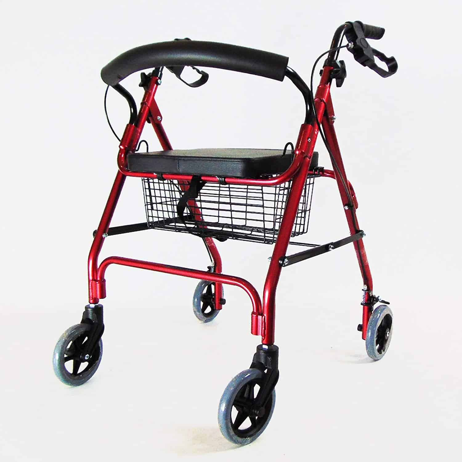 Red Lightweight Rollator With Seat 4 Wheel Walker Mobility Walking Frame