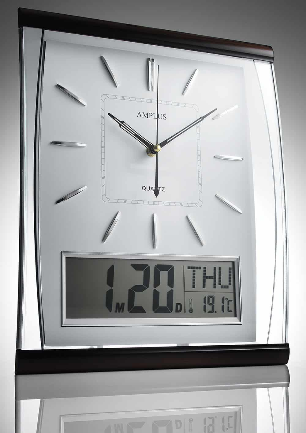 Silent Sweep Wall Clock With Large Digital Month/Date/Day Calendar Display