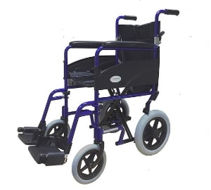 Simplelife Mobility Lightweight Folding Transit Wheelchair, Blue