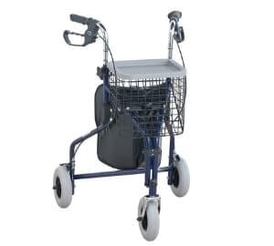 Three-Wheel Rollator Walking Aid with Basket & Tray
