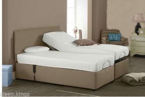 5ft 6ft king size memory foam adjustable electric bed in brown faux leather with matching. Black Bedroom Furniture Sets. Home Design Ideas