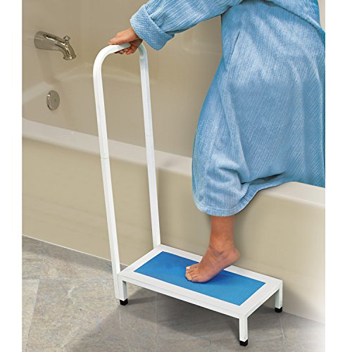 Bath Step With Handle Non Slip Surface Sturdy Aid Bathroom