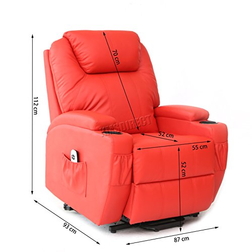 FoxHunter Bonded Leather Massage Cinema Riser Recliner Sofa Power Electric  Lift Chair ...