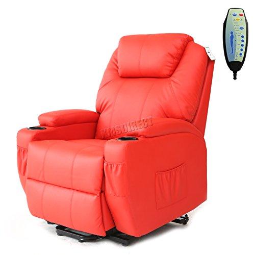 Leather Electric Recliner Sofa Uk: FoxHunter Bonded Leather Massage Cinema Riser Recliner
