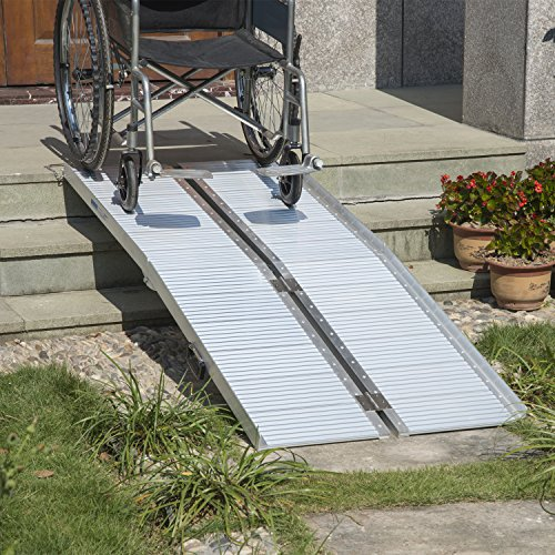 Disability Portable Handrails : Homcom ft folding aluminum wheelchair ramp scooter