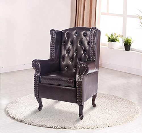 homcom antique high back chair pu leather seat chesterfield type armchair queen anne fireside. Black Bedroom Furniture Sets. Home Design Ideas