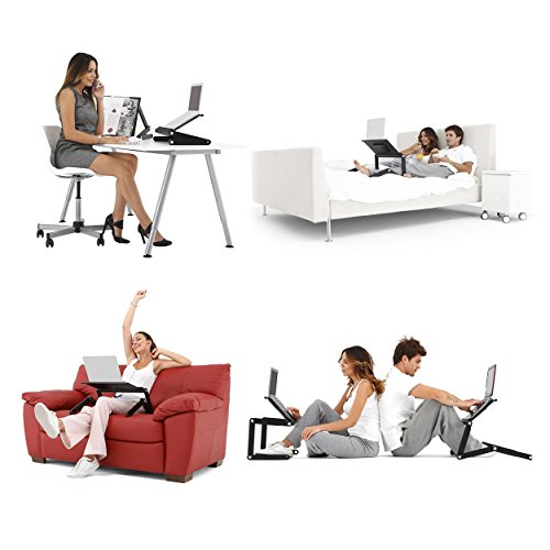 LifeBasis Laptop Stand Tray Adjustable Folding Bed Table Desk