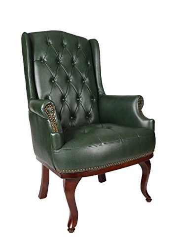 New Queen Anne Fireside High Back Wing Back Leather Chair