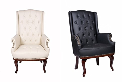 Charmant New Queen Anne Fireside High Back Wing Back Cream Leather Chair  Chesterfield Type Armchair