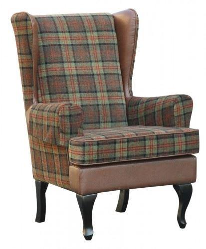 Stirling Tartan High Back Chair Orthopedic Fireside Arm ...